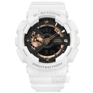 【CASIO卡西歐】G-SHOCK粗獷迷人銳利機械感雙顯腕錶 古銅色x白 49mm(GA-110RG-7A)