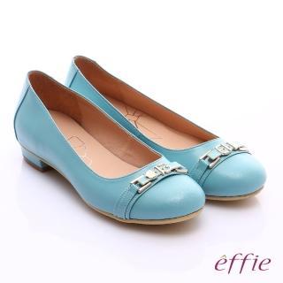 【effie】繽紛舒適 全真皮金屬條帶低跟鞋(淺藍)
