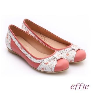 【effie】繽紛舒適 羊皮拼接壓紋扭結平底鞋(粉橘)