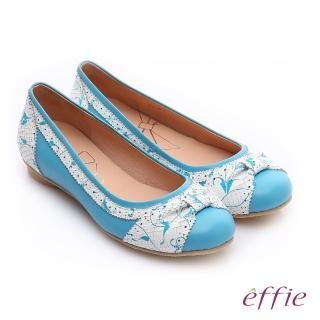 【effie】繽紛舒適 羊皮拼接壓紋扭結平底鞋(淺藍)