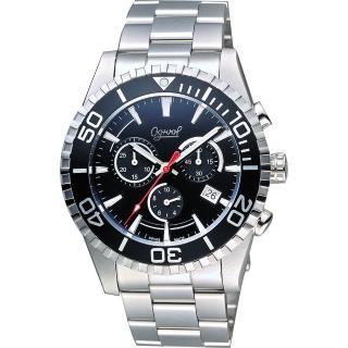 【Ogival】愛其華 極速剽悍三眼計時腕錶-黑x銀/44mm(3985-3GS黑)