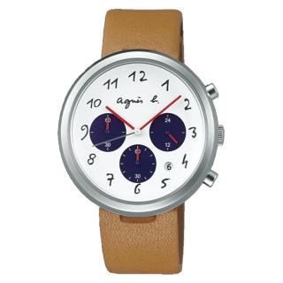 【agnes b.】法式休閒時尚皮帶腕錶-白x咖啡(VD53-KC30J/BT3026X1)