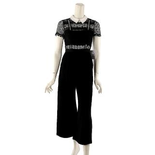 【SELF-PORTRAIT】短袖白領蕾絲寬褲裝(黑色)