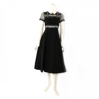 【SELF-PORTRAIT】短袖白領蕾絲寬過膝裙洋裝(黑色)