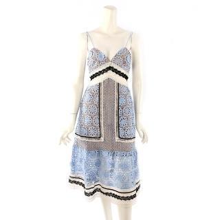 【SELF-PORTRAIT】細間帶蕾絲過膝洋裝(雲藍色)