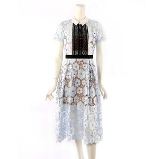 【SELF-PORTRAIT】短袖白領蕾絲過膝洋裝(淺藍色)