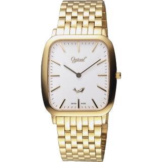 【Ogival】愛其華 都會簡約方形石英錶-金/33mm(393MK)