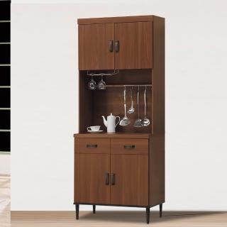 【時尚屋】詠昶淺胡桃2.7尺碗盤櫃UZ6-345-3(餐櫃 收納櫃 碗碟櫃)