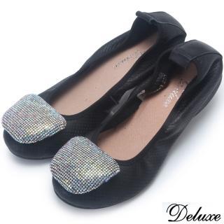 【Deluxe】全真皮閃耀水鑽平底娃娃鞋(黑)