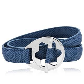 【MONT BLANC 萬寶龍】六角星純銀雙環釦手環(藍色)