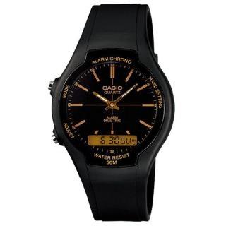 【CASIO】商務型酷炫雙顯指針錶(AW-90H-9E)
