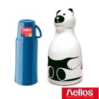 【德國 helios 海利歐斯】不鏽鋼保溫瓶1000cc+玻璃冷水壺1000cc(送冰滴咖啡壺)