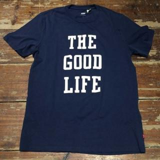 【Levis】男士印花純棉藍色短袖T恤