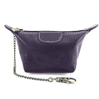 【Sika】義大利時尚真皮經典水餃零錢包(A8290-07木槿紫)