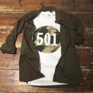 【Levis】男士Logo501印花純棉白色短袖T恤