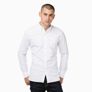 【Levis】男士修身純棉白色翻領尖領長袖襯衫