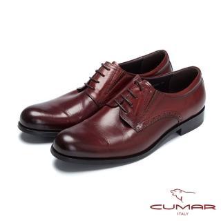 【CUMAR】嚴選真皮 綁帶牛皮素面皮鞋(紅胎牛色)
