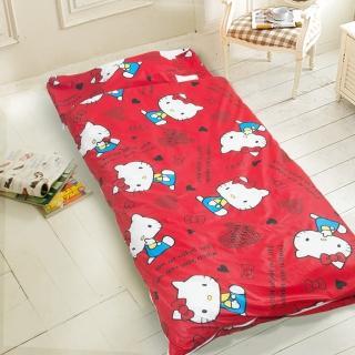 【kitty-愛心-紅】幼教加大兒童睡袋(冬夏鋪棉兩用)