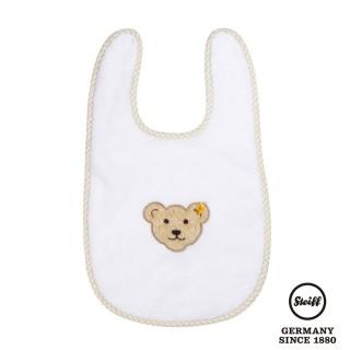 【STEIFF德國金耳釦泰迪熊】嬰幼兒 圍兜 白色(嬰幼兒圍兜)