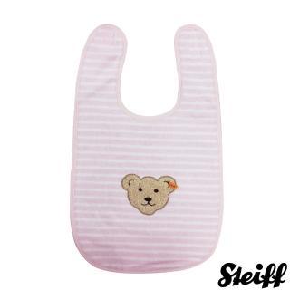 【STEIFF德國金耳釦泰迪熊】嬰幼兒 圍兜 粉紅橫條(嬰幼兒圍兜)