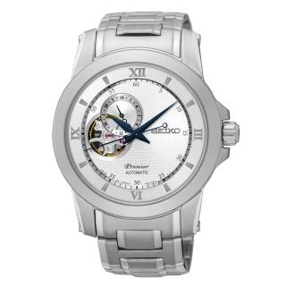 ~SEIKO~Premier 典藏風格鏤空 機械腕錶^(銀面 4R39~00P0S^)