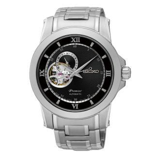 ~SEIKO~Premier 典藏風格鏤空 機械腕錶^(黑面 4R39~00P0D^)