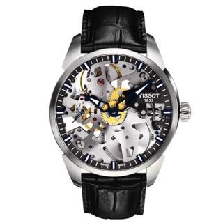 【TISSOT 天梭】T-Classic T-Complication 鏤空時尚手動上鍊腕錶(43mm/T0704051641100)