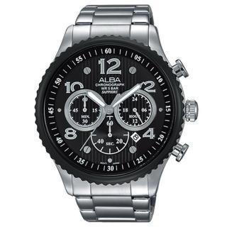 【ALBA雅柏】即時行動特 三眼計時男用腕錶(45mm/VD53-X236D)