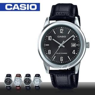 【CASIO 卡西歐】經典紳士錶款 太陽能 數字面 皮革 石英男錶(MTP-VS01L)