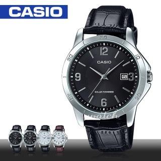 【CASIO 卡西歐】經典紳士錶款 太陽能 質感皮革石英男錶(MTP-VS02L)