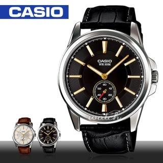【CASIO 卡西歐】經典紳士錶款 全黑皮革石英 指針男錶(MTP-E101L)