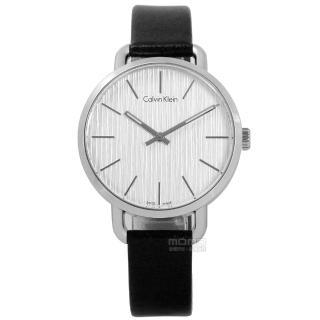 【Calvin Klein】EVEN 沉靜雅緻岩紋皮革手錶 銀白x黑 36mm(K7B231C6)
