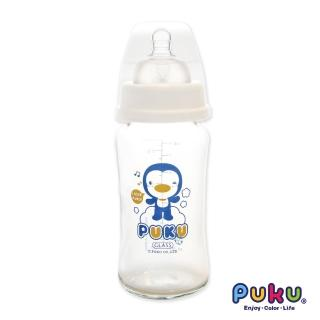 【PUKU藍色企鵝】實感寬口耐熱玻璃奶瓶-240ml