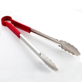 【PUSH! 餐具廚房用品】漂亮的不銹鋼食品夾麵包夾燒烤肉夾衛生夾 大號(大號 D62)