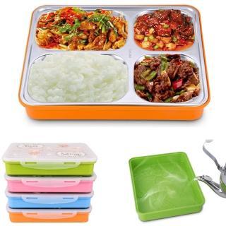 【PUSH! 餐具用品】304不銹鋼保溫飯盒便當盒防燙餐盤盒(學生成人款 一入E74)