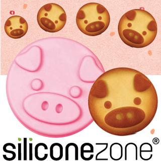 【Siliconezone】施理康耐熱粉紅小豬造型小蛋糕模(粉色)