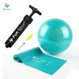 【Fun Sport】小跟班瑜珈球-1顆-20cm-彼拉提斯彈力帶-加長180cm-1條(瑜珈)
