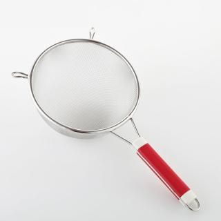 【PUSH! 餐具廚房用品】不銹鋼雙耳撈勺漏勺過濾網勺密網油撈勺 大號(D57)