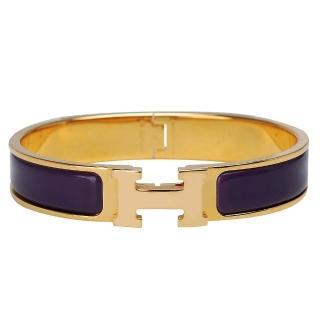 【HERMES】Clic H LOGO琺瑯細版手環(紫X金-P年H24831-PURPLE OR)
