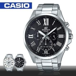 【CASIO 卡西歐 EDIFICE 系列】羅馬文 三眼計時 不鏽鋼石英男錶(EFV-500D)