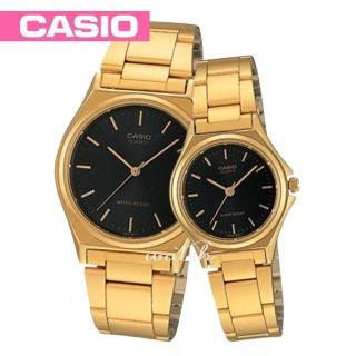 【CASIO 卡西歐 對錶系列】情侶款-燦金錶帶 丁字面指針對錶(MTP-1130N+LTP-1130N)