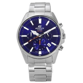 【CASIO卡西歐】EDIFICE追風競速日期三環不鏽鋼手錶 藍色 43mm(EFV-510D-2A)