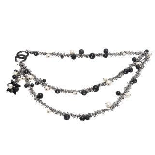 【CHANEL】香奈兒經典雙C LOGO三色珍珠造型雙層長項鍊(黑42468-NOIR)