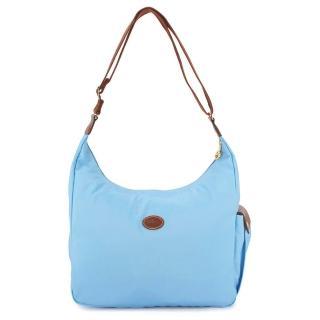 【Longchamp】經典尼龍弧形斜背包(粉藍色)