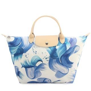【Longchamp】Splash清新藝術水彩短提把中型帆布水餃包(粉藍色)