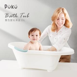 【PUKU藍色企鵝】抗菌雙色浴盆L(水色)