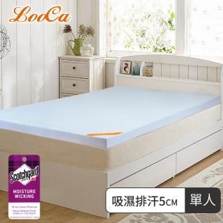 【快速到貨】LooCa吸濕排汗5cm全記憶床墊(單人)