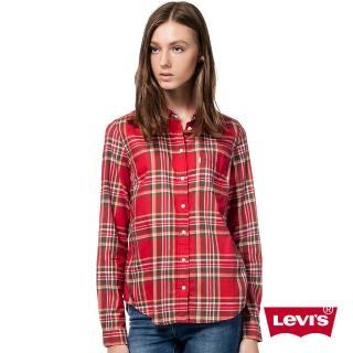 【Levis】女款純棉長袖格紋襯衫