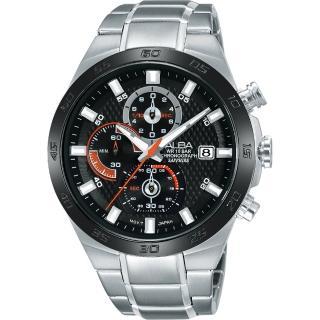【ALBA】ACTIVE 活力玩酷型男計時腕錶-黑/44mm(VD57-X080D  AM3337X1)
