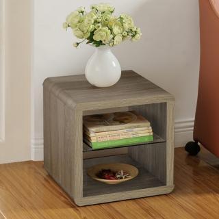 【FUN生活】DIY極簡造型小茶几桌/邊桌/置物櫃(深橡色/胡桃色)